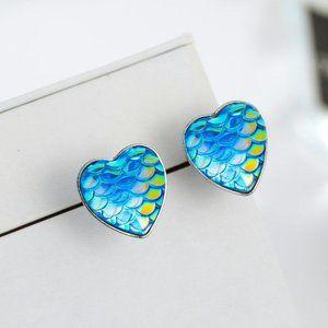 3/$20 New Blue Mermaid Scale Stud Earrings